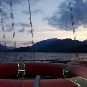 Sunset at Lake Garda from the monitoring boat during a 24hour field campaign on 7 and 8 May 2018 ©Andrea Salvadore